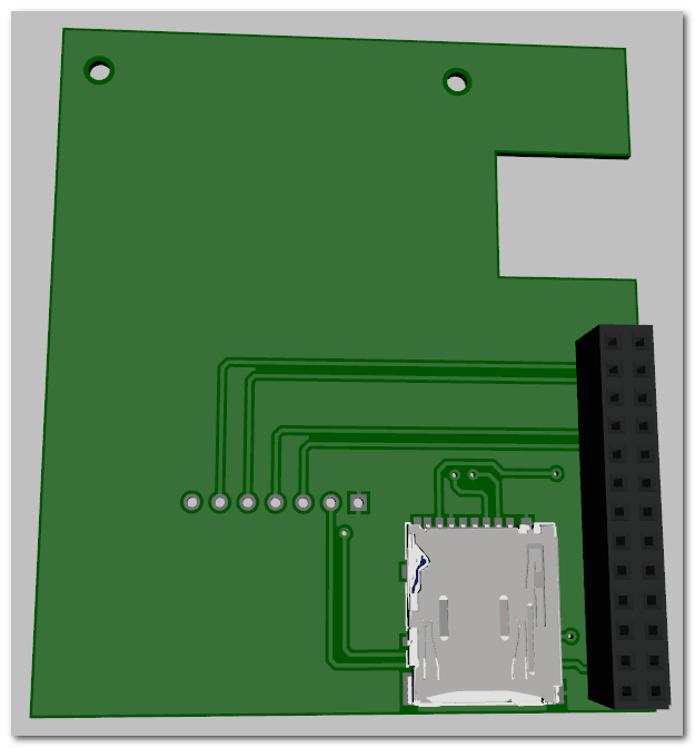 3D View of Back of PiOLED Board