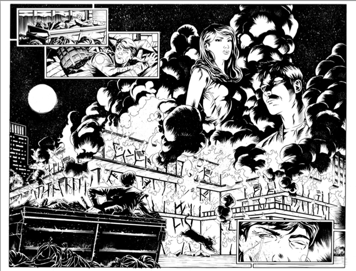 Inked page by Giovanni Valletta for Villians Club.