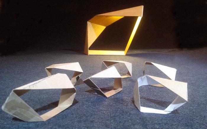 """The """"Loop"""" lamp, paper study models"""