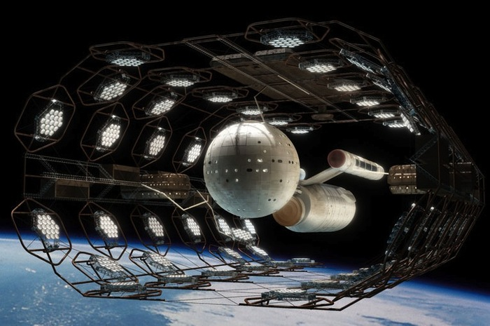 """Somewhere between science fiction and science fact, humankind gets to the stars (""""Daedalus-class"""" Star Trek/starship illus. Sean Robertson)"""
