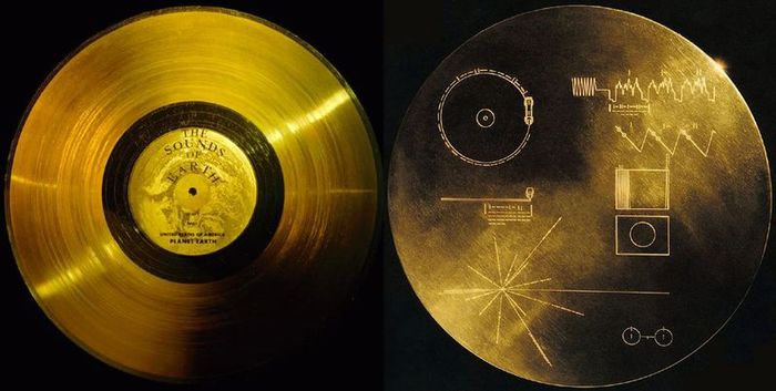 The gold record attached to NASA's Voyager spacecraft carrying a message for all humankind to whomever may find it in interstellar space.