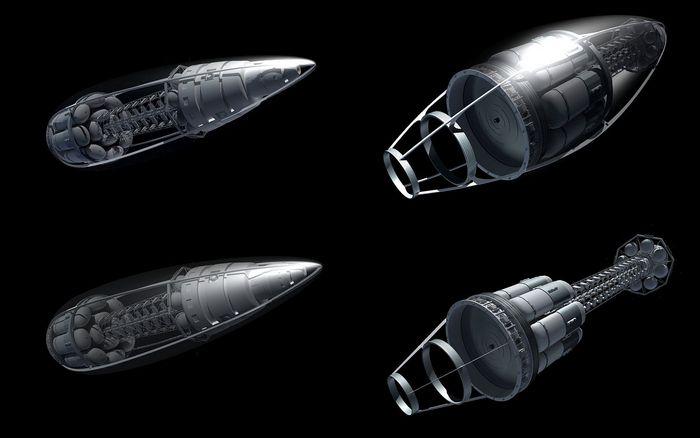"""Icarus """"Mark Series"""" spacecraft prototype, showing work in progress."""