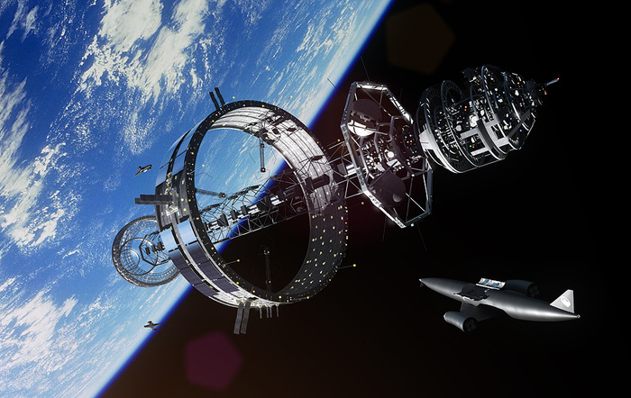 Icarus orbital construction ring prototype design, with resupply from Skylon single stage to orbit spacecraft by Reaction Engines (RE) [Did you know the founder of RE was also the Leader of Project Daedalus?]