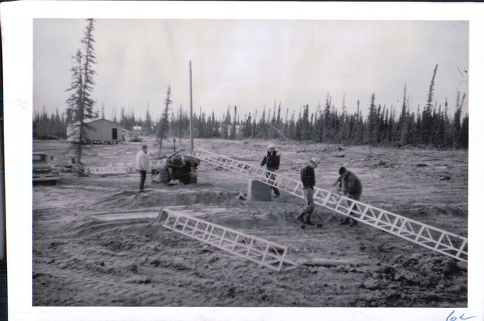 Erecting the radio tower in 1963