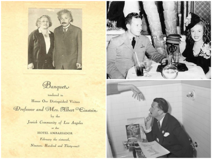 LEFT: Invitation to Albert Einstein's banquet, TOP RIGHT: 19 year old Marilyn Monroe attending a party at the Ambassador hotel, BOTTOM RIGHT: Salvador Dali hanging out in a bathtub