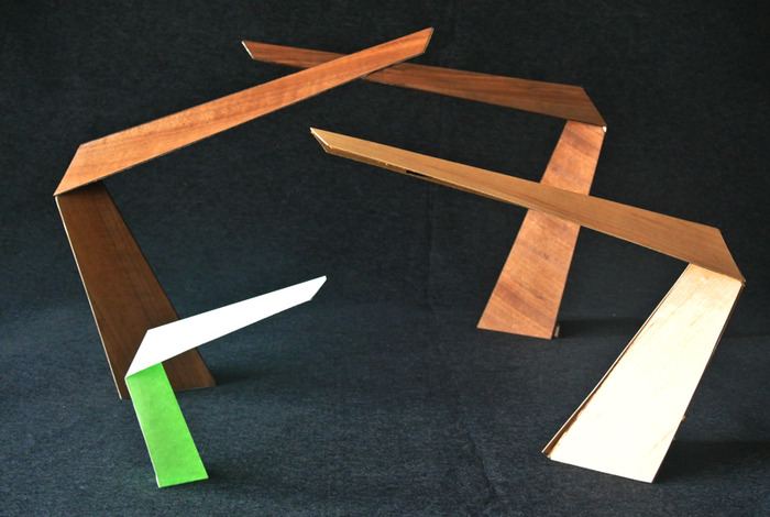 """The """"Arrow"""" lamp, paper and wood study models"""