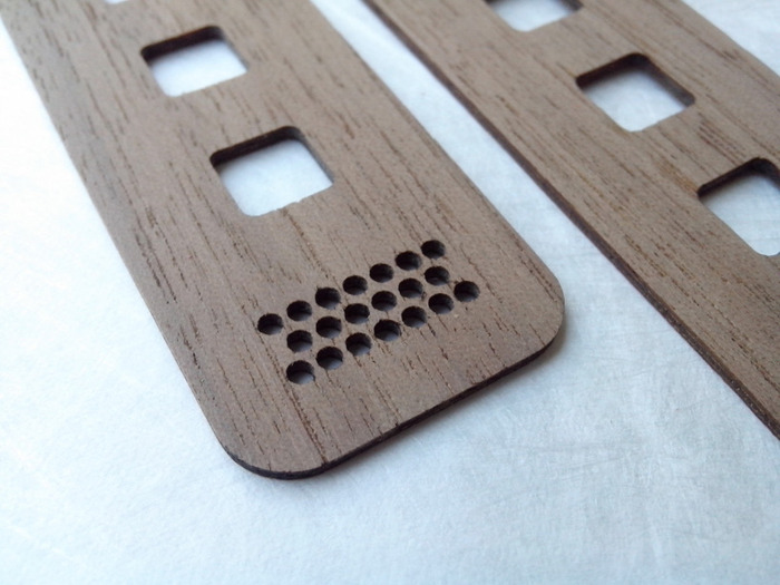 Details of the laser cutting for LED air ventilation and heat management