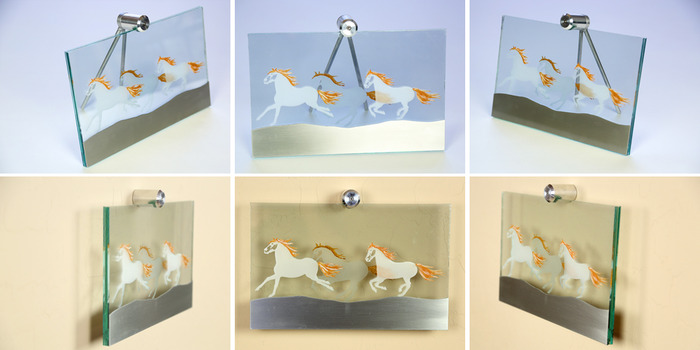 """Size:11"""" x 7"""" x 2"""". Engraved horses on the front and back of the glass with painted detailed accents.  A cut line-grain piece of aluminum glued to the front of the glass."""