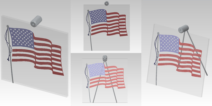"""Size: 10"""" X 10"""" X 2"""". The American flag engraved on the front surface of the glass, painted red and blue, with black painted tassels on the side and an aluminum flag pole."""
