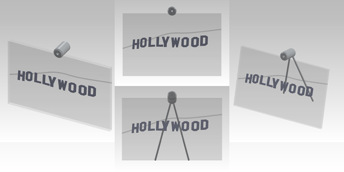 """Size: 11"""" x 7"""" x 2"""". The Hollywood sign letters are cut out of aluminum material with a line-grain finish.  The mountains in the background are engraved on the front side of the glass."""
