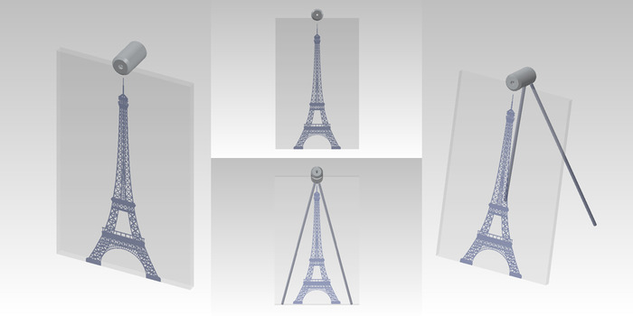 """Size: 7"""" x 11"""" x 2"""". An engraved Eiffel Tower design on the front of the glass with painted accents."""