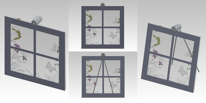 """Size: 10"""" X 10"""" X 2"""". An engraved scene on the front of the glass with various painted accents.  A cut piece of line-grained aluminum creates the window."""