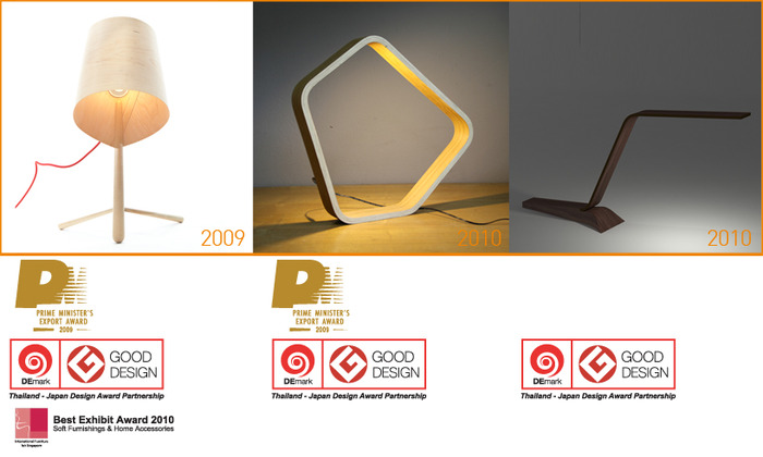 Awards from lamp designs (Thailand, Japan and Singapore 2009-2011)
