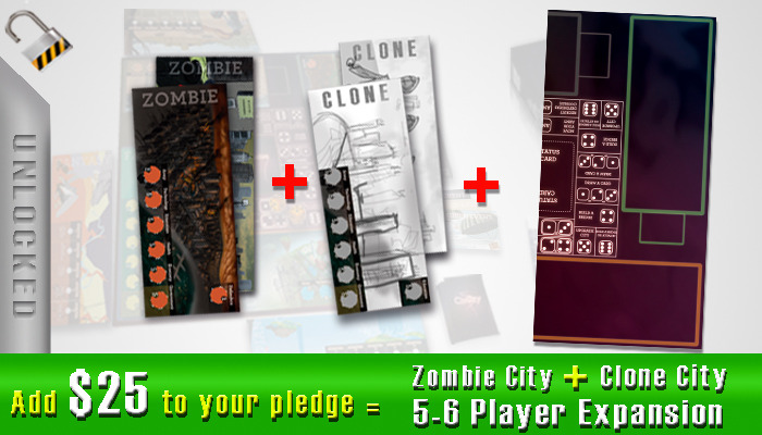 $25 - 5 to 6 Player Expansion and Zombie City and Clone City