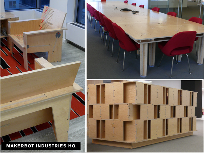 Images of customized AtFAB Furniture built for MakerBot Industries Headquarters.