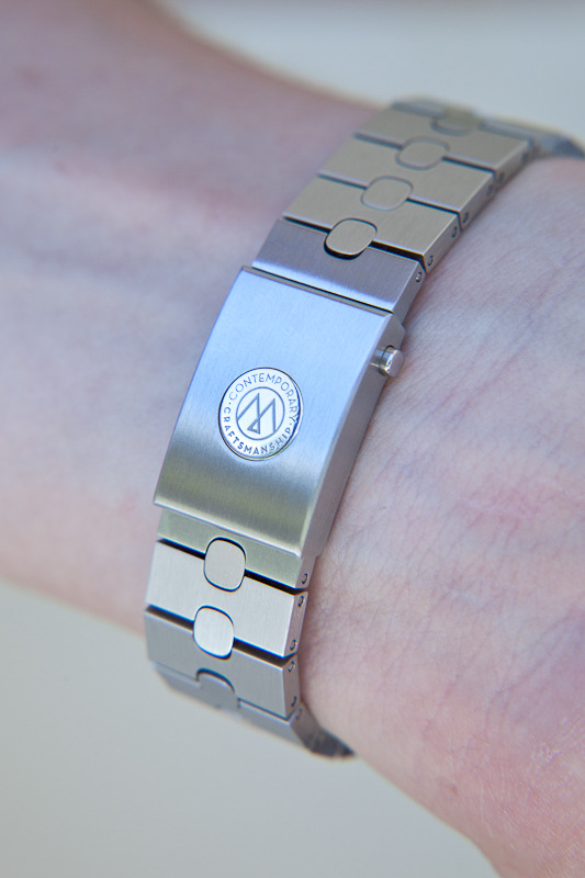metal bracelet on the wrist