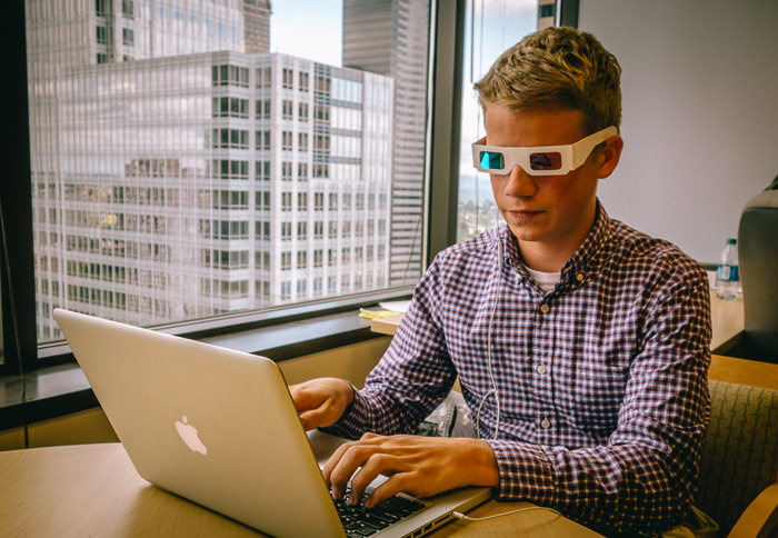 Peter testing Poppy footage with red/blue 3D glasses
