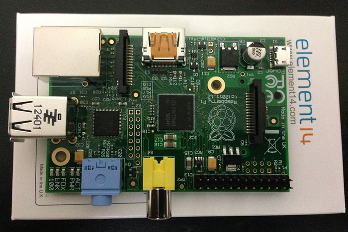 Here is one of our Raspberry Pi single-board computers, provided by Element14.