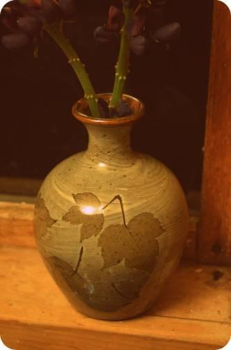 Celadon leaf vase