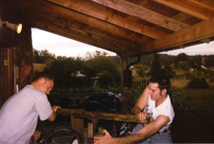 Jeff Ott and Abram Goldman-Armstrong pressing cider in Yamhill in 1999