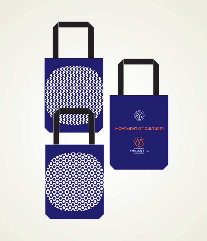 reward US$75 totebag white on navy blue Copacabana waves or bubbles one side A.Manzoni & Fils Logo other side, size 35cm(13.7 inches) high + 20cm(7.87 inches)handle, 37cm(14.5 inches) large