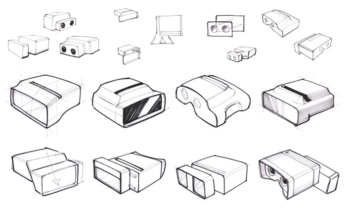 Sketches of the design's evolution