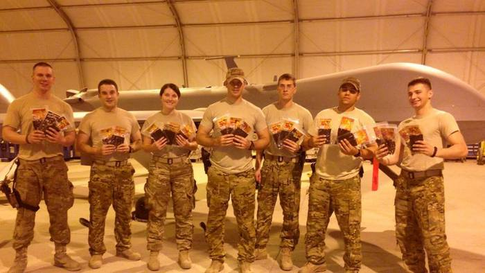 """Our troops in Afganistan received their care package. Courtesy of SrA Rob """"Stitch"""" Bing 62 ERS Det 1"""