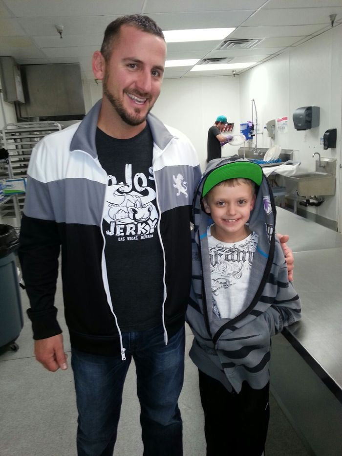 Hans welcomes Nicholas and his father Sean in the lab. Hans gave Nicholas his first jerky starter kit and a lesson on Jerky 101. Nicholas was diagnosed with cancer, 8 months later his cancer was in remission