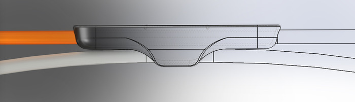 3D Visualisation of in-line remote with integrated USB cable clip