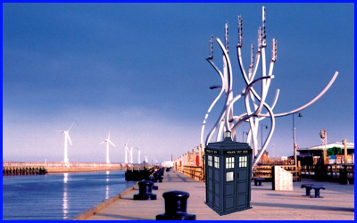 Image showing the TARDIS at the location where the Fireworks Display will be taking place.