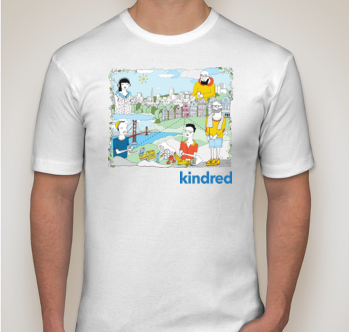 (B) Limited Edition Kindred X San Francisco theme T with art by Emma (FRONT) (Sizes: S-XL, Color: White)