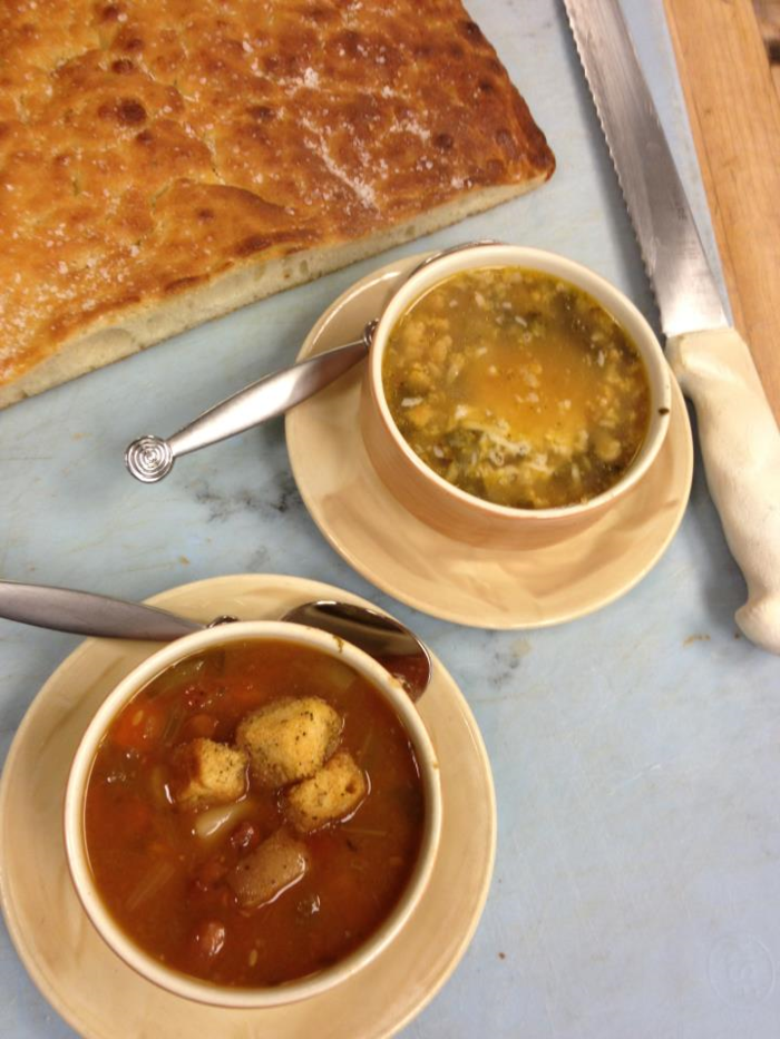 Minestrone Soup, Chicken Broth with Mushrooms, Farro garnished with cheese, Our house made Foccacia Bread