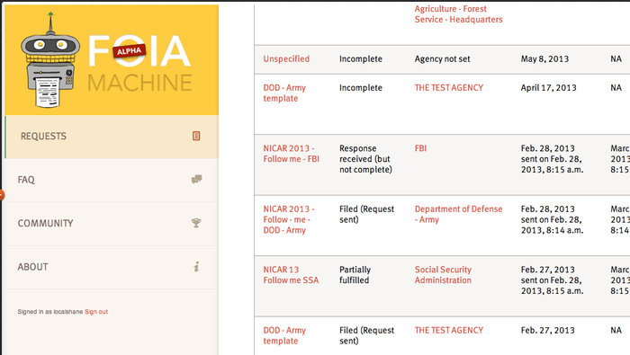 FOIA Request screen shot