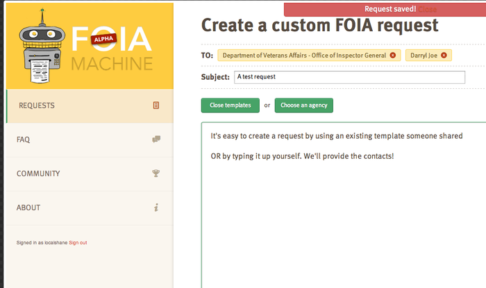 Starting a FOIA request