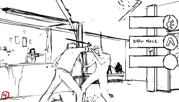 Gameplay Concept Sketch - Bar Fight