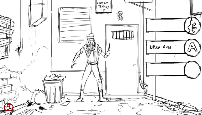 Gameplay Concept Sketch - Alley Confrontation