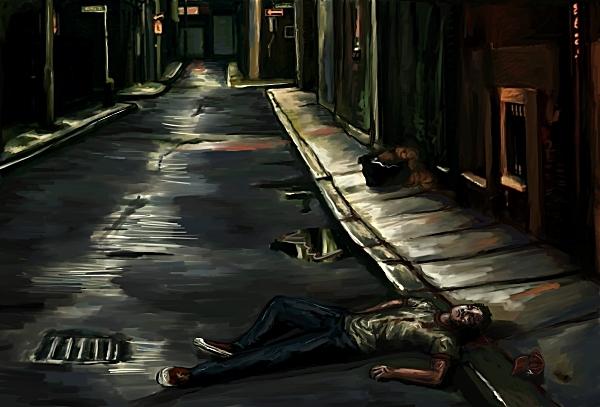"Official ""Living Legend"" concept art --Mark, left for dead in an alley"