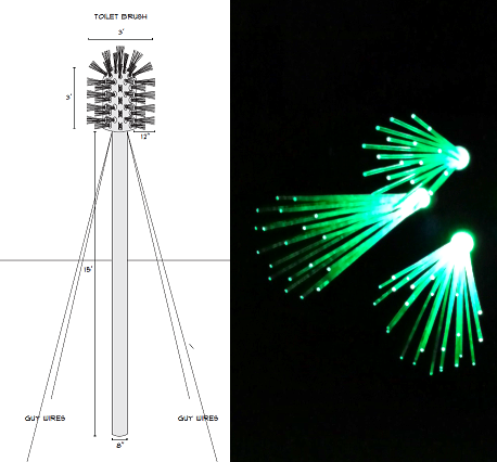 Twisted Bristles conceptual design and bristle bunch prototypes lit up.