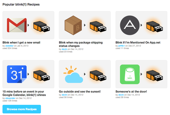 Some of the IFTTT recipes for blink(1)
