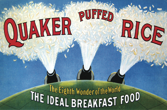 "Quaker marketed puffed rice cereal as ""the food shot from guns."" Courtesy of the Anderson Center at Tower View."