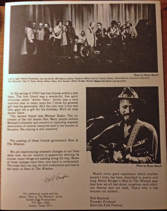 "Back side of sheet music with story of ""Heal In The Wisdom"""