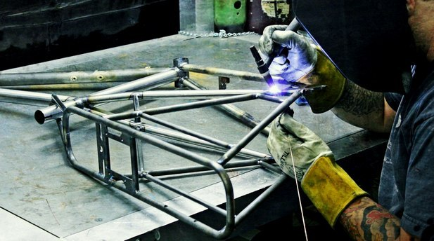 Stephan at Zen Bicycle Fabrications welding one of the first Kinn frames