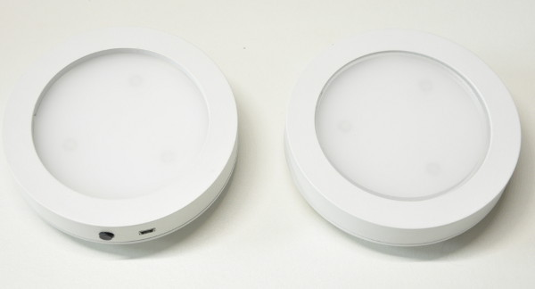 Leddie functioning prototype (right image: with additional PMMA circle)