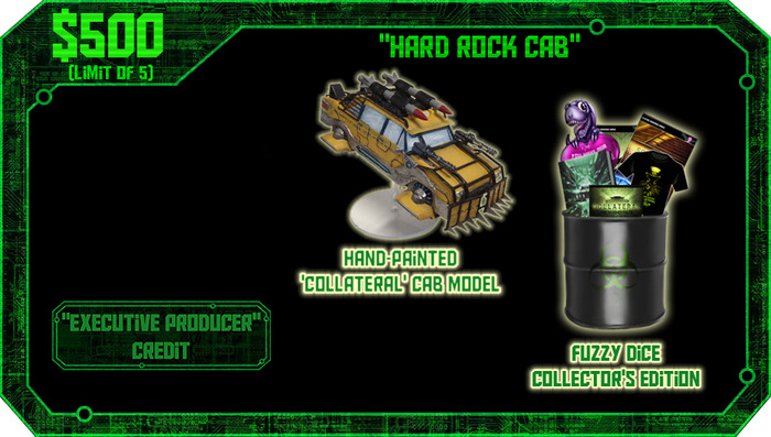 $500 or more: Limited edition hand painted 3D model of the Collateral Cab (with certificate of authenticity), 'Executive Producer' credit, and Kickstarter Collector's Edition. Limit of 5.