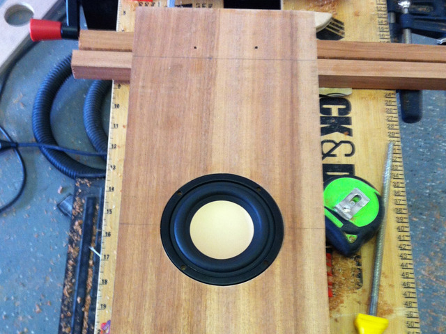 The Duo's original down-throw subwoofer. After many hours of debate, it was decided that we would scrap this mid-bass speaker and install an actual long-throw subwoofer.