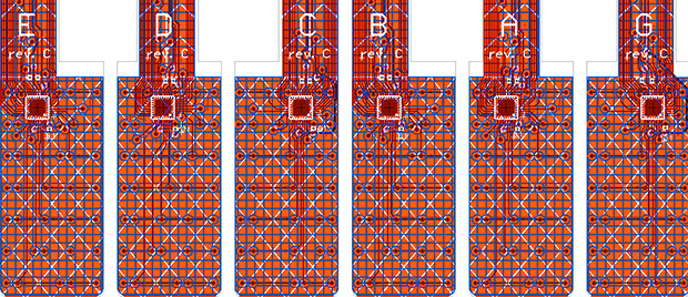 Circuit board layouts of the TouchKeys sensors