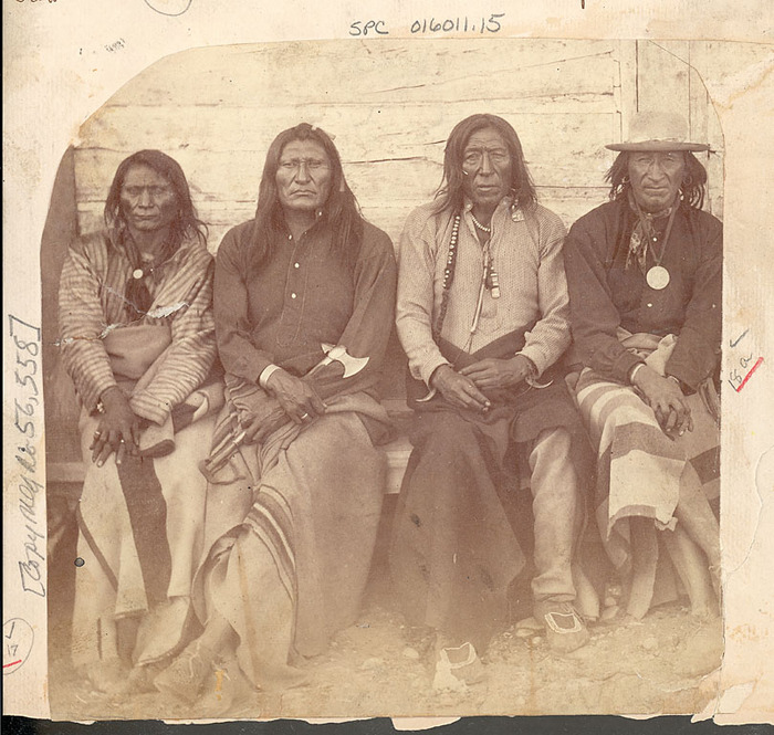 Crow Chiefs at Fort Parker, the first Crow Agency, 1871
