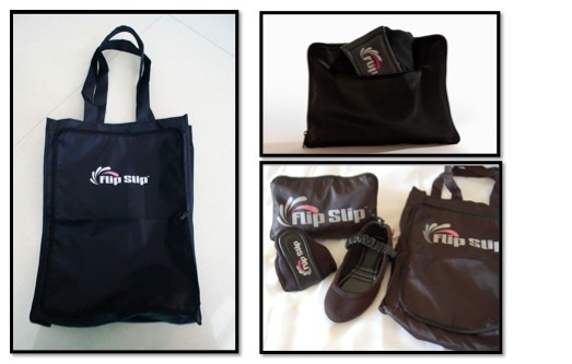 FLIP-TOTE BAG – a collapsible bag that can be used as a carrying case for your FlipSlips and can also expand into a tote bag for carrying your other shoes and accessories.