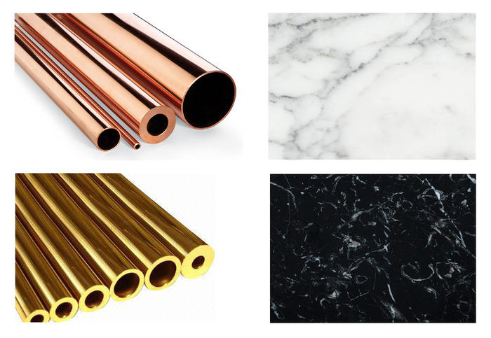 Special edition materials, copper and brass tube, as well as different types of marble you can choose from.