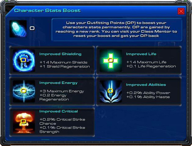 The character stat boost allows each player to customize his character by using Outfitting Points to boost its stats.